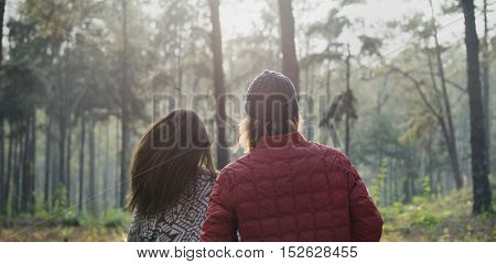 Couple Walking Outdoors Forest Concept