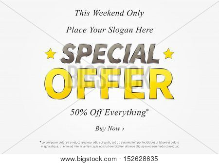 Special Offer vector illustration. Horizontal poster Special Offer Sale creative concept for websites retail stores advertising. Banner layout Special Offer Sale A4 size ready to print.