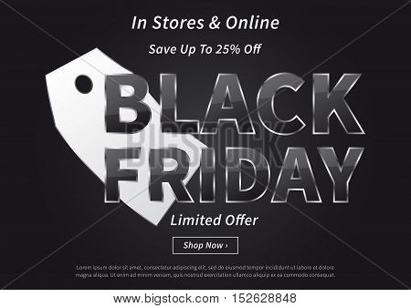Black Friday with silver price tag vector illustration on black background. Creative banner layout for m-commerce mobile promotions retail sale materials coupons advertising.
