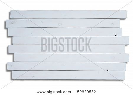 Staggered long flat white wooden planks with copy space for theme about homemade objects or food