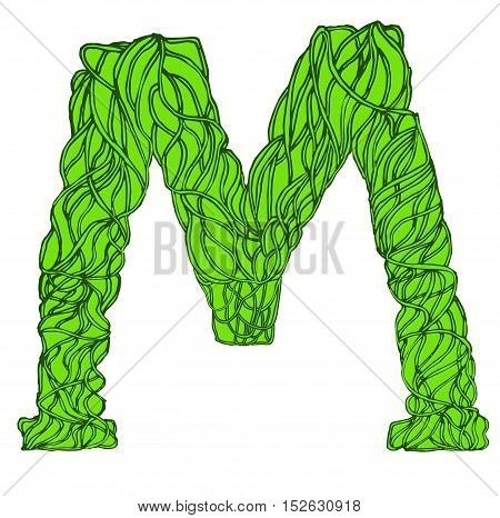 Herbarium font, type. Green herbal vector letters. Letter M.