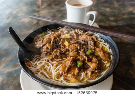 Hong Kong Cafe Style Satay Beef Rice Noodles