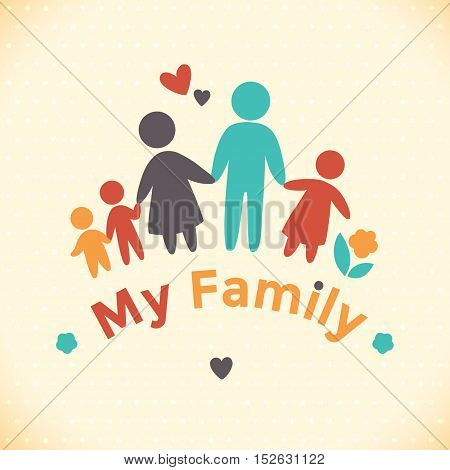 Happy family icon multicolored in simple figures. Three children, dad and mom stand together. Vector can be used as logotype