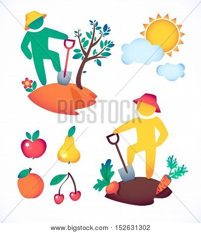 vector illustration man planting a tree and admire the sun.  gardener and his garden under the hot sun