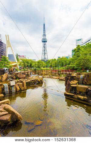Nagoya Tv Tower Pond Rock Garden City Center Park