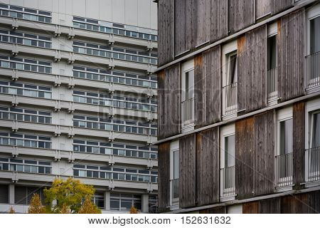 Wood Log Panel Building Rough Brown Shades Burnt Look Exterior Architecture Water Reflection Landsca