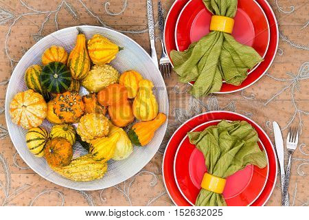 Ornamental Fall Gourds In A Table Centerpiece