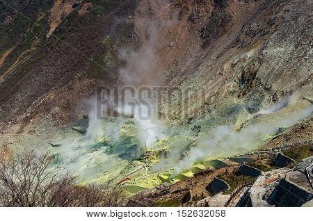 Active Sulphur Vents Of Owakudani, Japan
