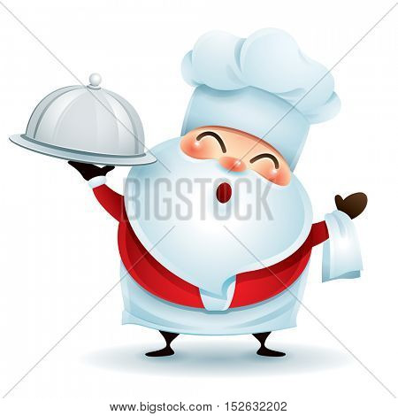 Chef Santa Claus with a serving tray