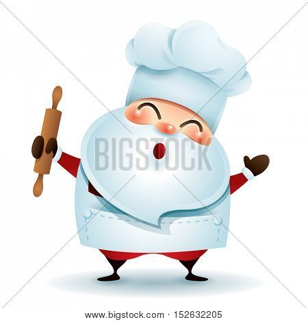 Baker Santa Claus holding a roller pin