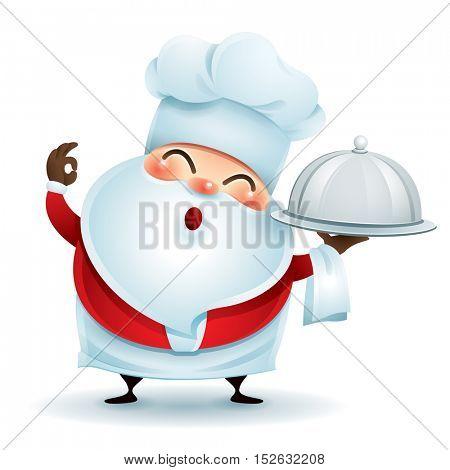 Chef Santa Claus showing a perfect gesture with a serving tray.