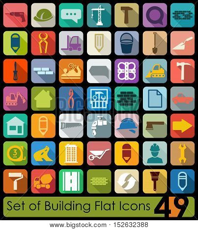 Set of building flat icons for Web and Mobile Applications