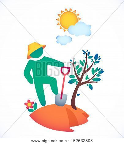 vector illustration man planting a tree and admire the sun.  garden under the hot sun