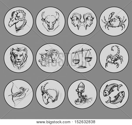 Set of astrological zodiac symbols. Horoscope signs. Sketch style. Vector Illustration.