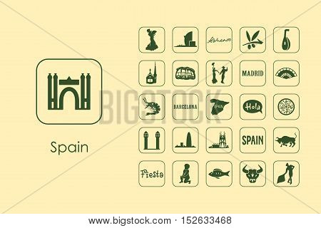It is a set of Spain simple web icons