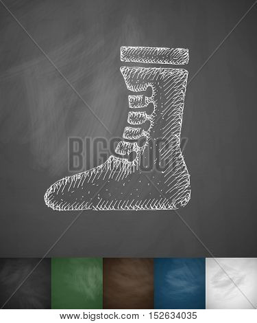 Boxing shoes icon. Hand drawn vector illustration. Chalkboard Design