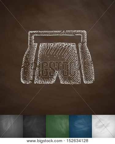 shorts icon. Hand drawn vector illustration. Chalkboard Design