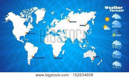 Weather forecast icons set. World blue map.