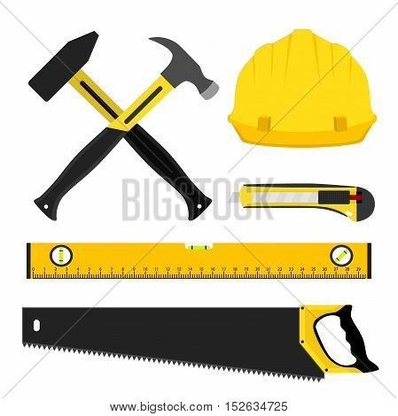 Set of repair tools. Worker kit in flat style. Helmet, hammers, waterpas, saw and other equipment for construction.