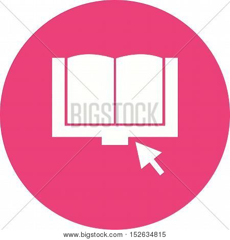 Book, click, computer icon vector image. Can also be used for E Learning. Suitable for mobile apps, web apps and print media.