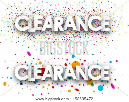 White clearance paper banners with color drops. Vector illustration.