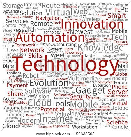 Vector concept or conceptual digital smart technology square word cloud isolated on background