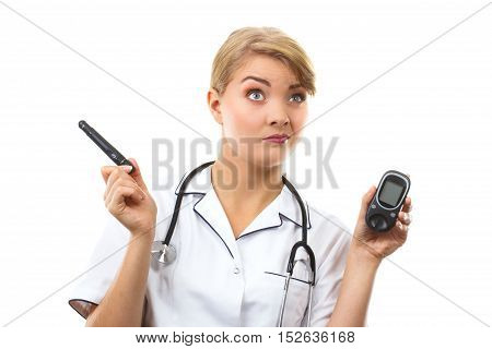 Shocked Woman Holding Glucometer, Measuring Sugar Level, Concept Of Diabetes