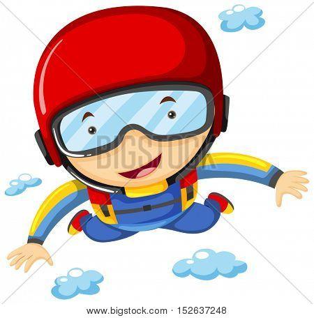 Athlete doing sky diving alone illustration