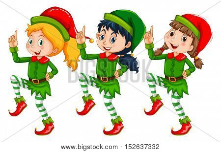 Christmas theme with kids dressed up in elf illustration