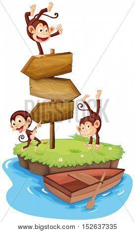 Three monkeys and wooden signs on island illustration