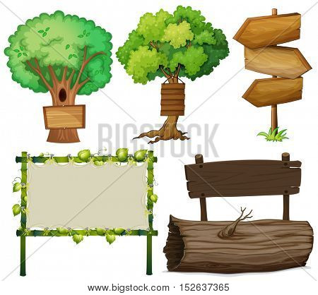 Different design of signs made of wood illustration