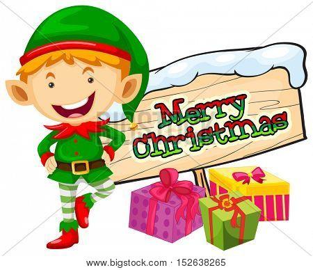 Christmas theme with elf and christmas sign illustration