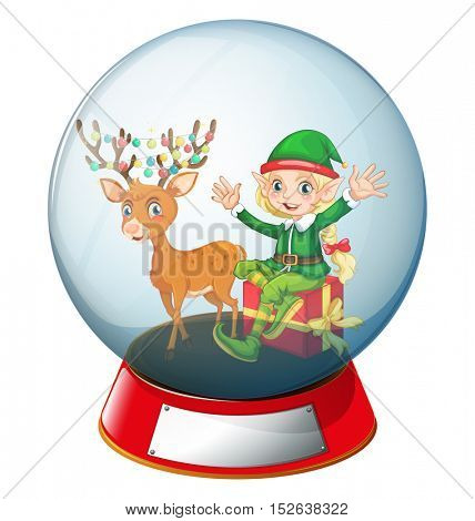 Christmas theme with elf and reindeer in glass ball illustration