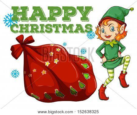 Christmas theme with elf and present bag illustration