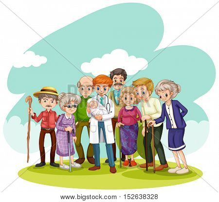 Doctor and many people in the field illustration
