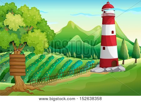 Scene with lighthouse and farmyard illustration