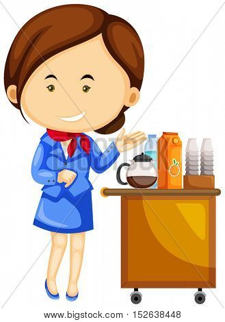 Flight attendant and drinks trolley cart illustration