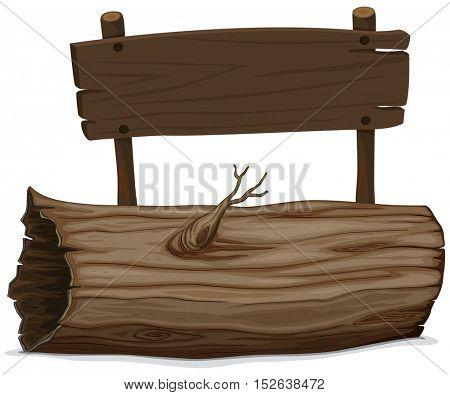 Wooden log and sign illustration