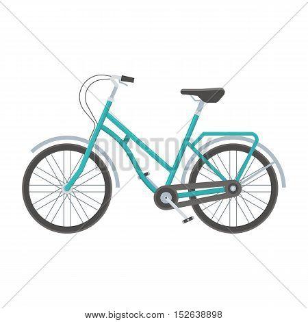 Blue bicycle vector illustration. Retro city bike isolated on white background. Urban wheel flat design vector illustration. Modern city ecological transport.