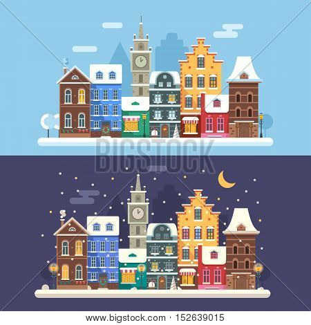 New Year city flat landscape with traditional europe houses, clock tower and Christmas lights. Day and night europe Christmas street banners with colorful building facades and Christmas decorations.