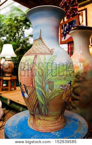 Vases made of pottery made carefully  in thai