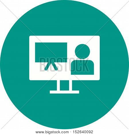 Online, presentation, conference icon vector image. Can also be used for E Learning. Suitable for web apps, mobile apps and print media.