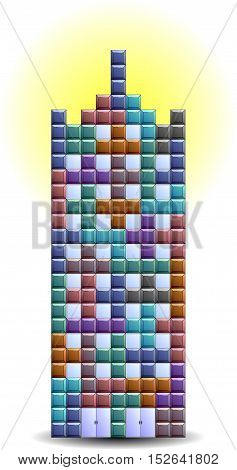 Building. Fairy house high-rise made of square blocks on a sun circle. Vector illustration.