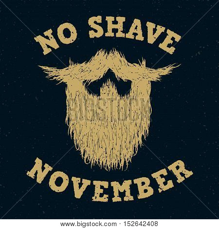 Beard silhouette with No Shave November golden lettering
