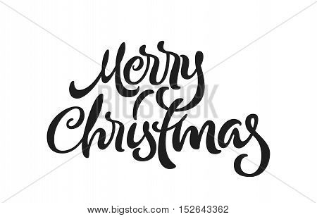 Merry Christmas calligraphic hand drawn lettering isolated element
