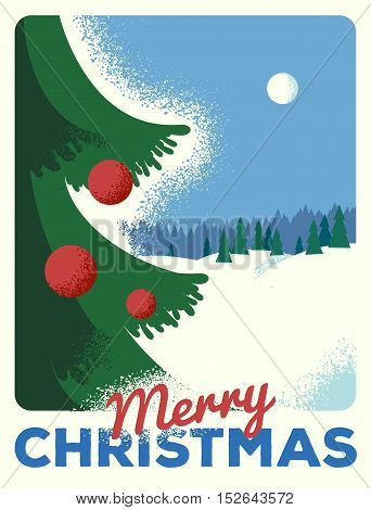 Christmas greeting card, retro styled with scratched paper