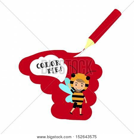 Kid in fancy bee insect dress with speech bubble Color me. Cover design vector illustration
