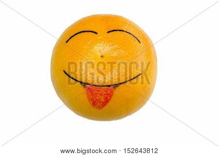 cheerful orange shows the tongue,isolated on white background