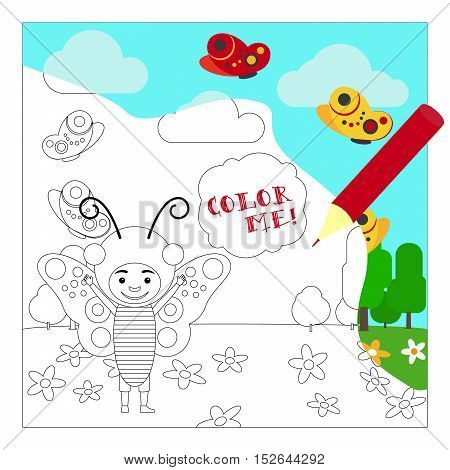 Kid in fancy insect dress in kindergarten. Coloring page for children. Vector illustration
