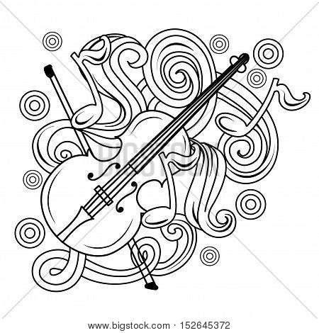 Cartoon Hand-drawn Doodles Musical Illustration. Sketch